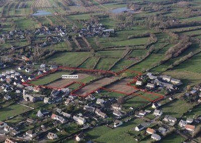 Projet lotissement Gouville - Vue aérienne zone d'étude modifiée